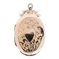 Antique 9ct 9K Gold Engraved Fancy Oval Love Heart Locket Pendant