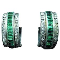 Art Deco Paste and Green Paste Baguette Cut Sterling Silver Small Hoop Clip on Earrings