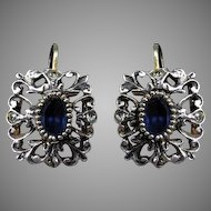 Antique Victorian Blue Paste and Paste Square Silver and Gold Earrings