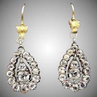 Antique Old Cut Paste 18ct Yellow Gold Teardrop Pear Shape Drop Dangle Earrings