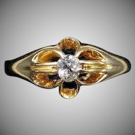 Antique Victorian Old Cut Diamond Solitaire Belcher 18ct Yellow Gold Ring Dated 1864