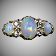 Antique Victorian Natural Opal and Old Cut Diamond 18ct 18K Yellow Gold Ring