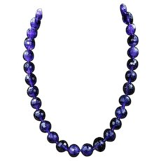 Antique Victorian Faceted Amethyst Beaded Necklace with Silver Fastener