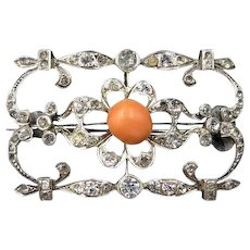 Antique Coral and Old Cut Paste Sterling Silver Oblong Brooch Pin | Art Deco c.1915