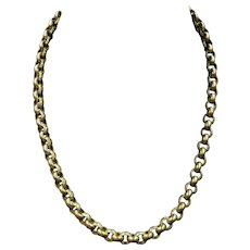 Antique Georgian Cannetille Gold Gilded Textured Belcher Chain Necklace