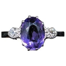 Antique Victorian Amethyst and Diamond Three Stone Trilogy 18ct Yellow Gold and Platinum Ring