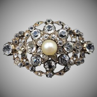 Antique Victorian Old Cut Paste and Pearl Silver Gilt Gold Fancy Floral Brooch Pin