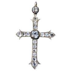 Antique Victorian Old Cut Paste Collet Set Sterling Silver Cross Crucifix Drop Pendant
