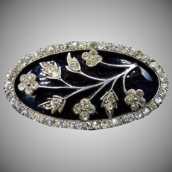 Antique Georgian Blue Glass and Paste Large Oval Sterling Silver Floral Flower Brooch Pin | Circa. 1800