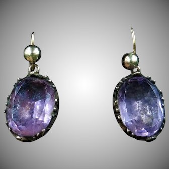 Antique Victorian Foiled Back Amethyst 9ct 9K Yellow Gold Oval Drop Earrings