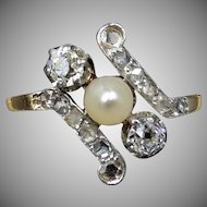 Antique Edwardian Diamond and Pearl 18ct 18K Yellow Gold Ring | French Belle Epoque