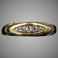 Antique Victorian Old Cut Diamond Five Stone 18K 18ct Yellow Gold Band Ring