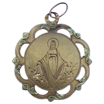 French 18 K Virgin Mary Charm or Medal