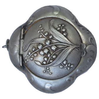 Art Nouveau silver plated Powder box pendant Lilly of the valley