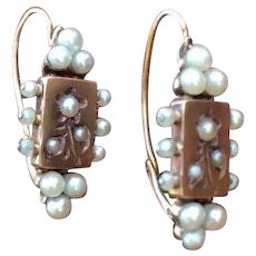 French  Antique 18K solid gold natural pearls earrings