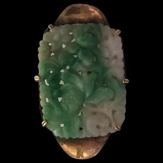 Antique Natural Jade Brooch on 18 k gold