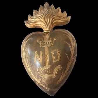 Large 19th C. French gilt brass ex voto flaming sacred heart Notre dame de Lourdes