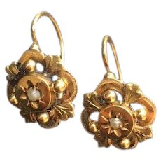 Antique French Napoleon III Dormeuses Earrings 18 K Gold Pearl