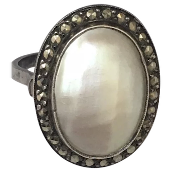 French mother of pearl silver  cocktail ring