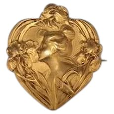 French Art Nouveau gold fill Fix lady brooch