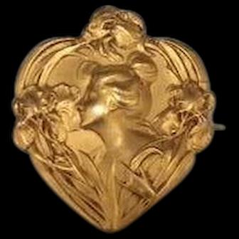 French Art Nouveau gold fill Fix lady brooch
