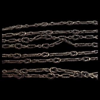 French Antique 800-900 silver 54 inch long muff guard chain sautoir