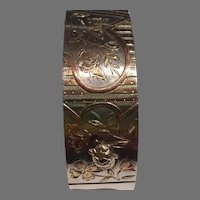 Antique French Napoleon III Silver& Gold Bracelet turtle lizard butterfly