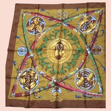Authentic Vintage Hermes Silk Jacquard Scarf Daimyo - Princes du soleil