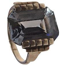 Art Deco silver ring with aquamarine paste