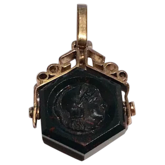 Antique 18 K gold Bloodstone Intaglio rotating Watch Fob charm pendant