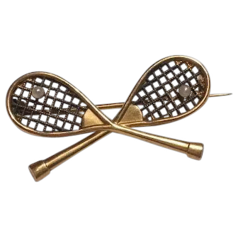 French 1930 18 K gold filled Tennis racket natural pearl brooch FIX