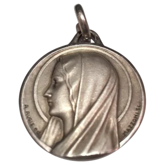 Very Large French  silver/ sterling Maria Mary medal 36,8 grams