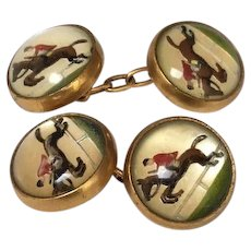 Essex Rock Crystal Cufflinks with horses