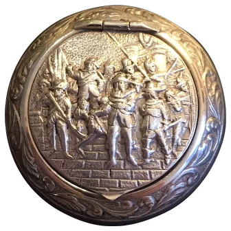 French 1900 silver plated pill box  the 7 Musketeers