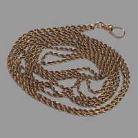 """51"""" Long 10 K Gold Rope guard chain for lorgnette or muff"""