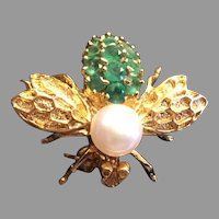 Vintage  french pearl emeralds 18K Yellow Insect Bee brooch