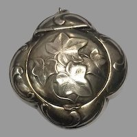 Antique Art Nouveau 800-900 silver Ivy compact box locket