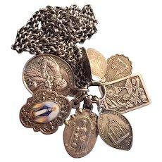 8 French silver medals art nouveau enamel XIX century