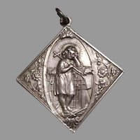 Large Silver Sterling Angel Medal pendant 19 th Century