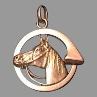 French 18 K FIX gold fill horse pendant charm
