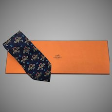 Vintage HERMES tie Parrots in love WITH the box