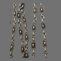 Antique French 800-900 silver 55.5 inch knot link guard chain for muff or lorgnette