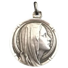 French Art Deco Silver Virgin Mary Medal heavy