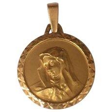 Art Deco 18 K GOLD Medal Religious Pendant Virgin Mary French