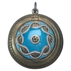 Antique enamel silver compact box locket