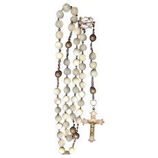 Antique Mother of Pearl French Rosary Prayers beads