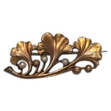 French Antique Gold Fillet FIX Seed pearls flower pin