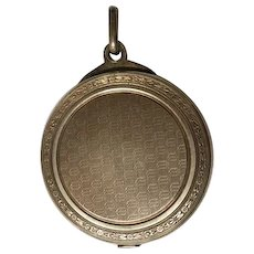 French Antique silver slide mirror locket pendant