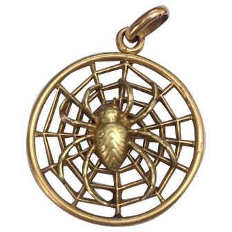 French FIX 18 K gold fill spider pendant