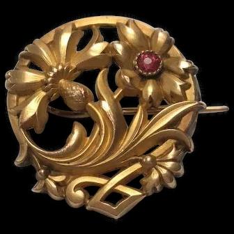 French FIX 18 K gold fill flower brooch